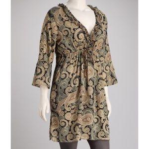 Mud Pie Paisley Printed Boho Linen Tunic Dress
